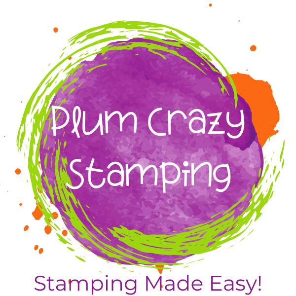 Plum Crazy Stamping Logo - purple circle with lime green and orange accents. Tagline is Stamping Made Easy