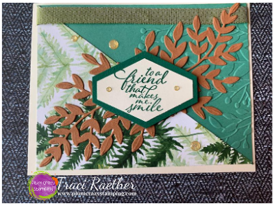 Friendship card featuring branches with leaves in light brown and green colors with a friendship sentiment