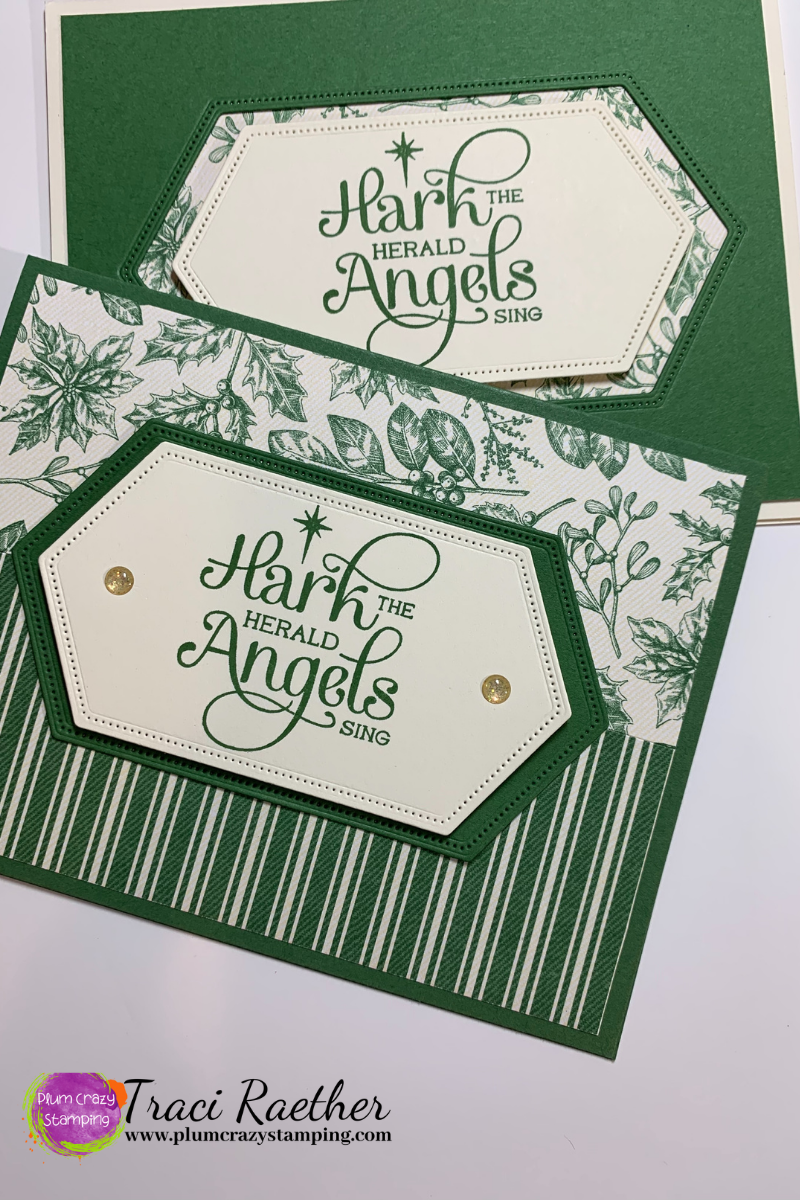 Two Christmas cards in Green and Vanilla with saying Hark the Herald Angels Sing