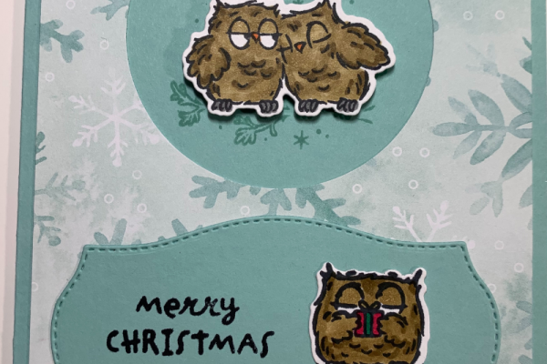 Christmas card with two owls sitting on a branch under mistletoe and another owl holding a gift. Sentiment is Merry Christmas