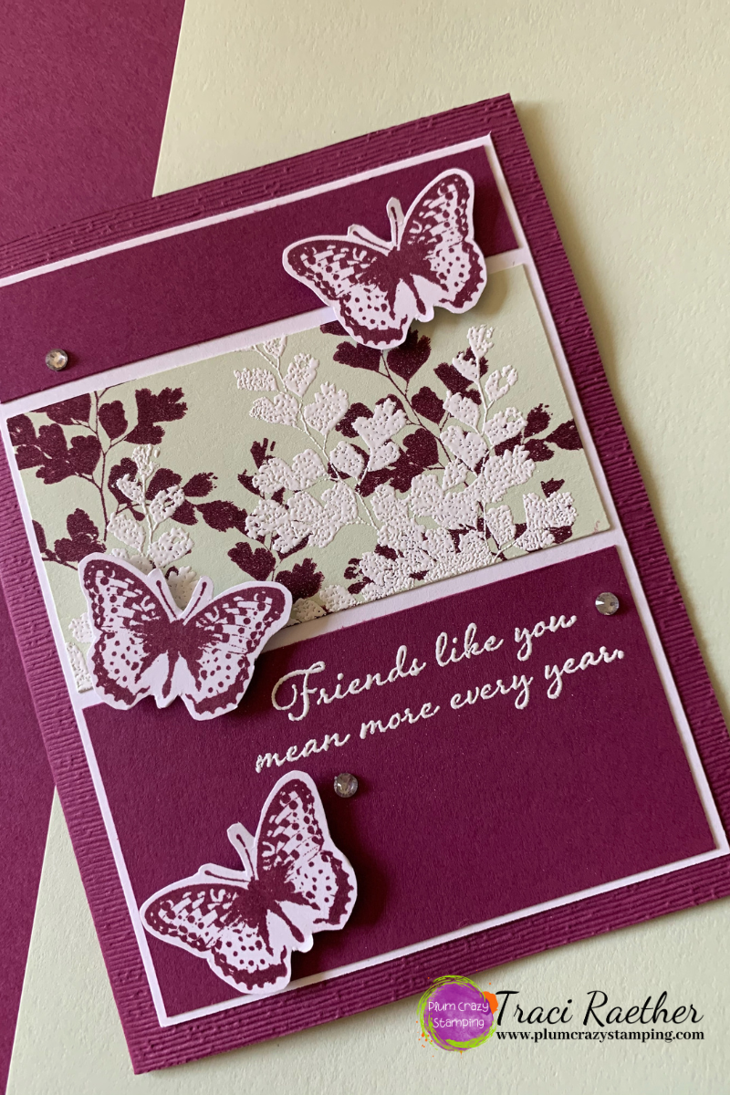 Burgundy Card with foliage and butterflies