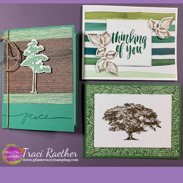 Three cards with tree images in different shades of green